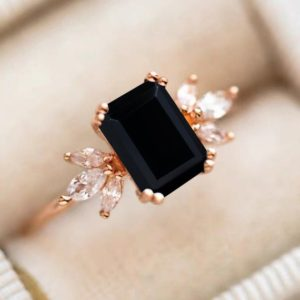 Black Onyx Engagement Ring 4ct Emerald Cut Solid 14K Gold Engagement Ring Cluster Ring Moissanite Bridal Ring Promise Ring Anniversary Gift   Natural genuine Array rings, simple unique alternative gemstone engagement rings. #rings #jewelry #bridal #wedding #jewelryaccessories #engagementrings #weddingideas #affiliate #ad