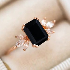 Black Onyx Engagement Ring 4ct Emerald Cut 14K Rose Gold Engagement Ring Cluster Ring Moissanite Bridal Ring Promise Ring Anniversary Gift | Natural genuine Array jewelry. Buy handcrafted artisan wedding jewelry.  Unique handmade bridal jewelry gift ideas. #jewelry #beadedjewelry #gift #crystaljewelry #shopping #handmadejewelry #wedding #bridal #jewelry #affiliate #ad