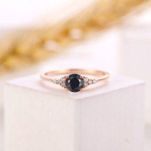 Black Onyx engagement ring vintage round cut rose gold diamond ring antique moissanite promise ring delicate anniversary bridal women gift   Natural genuine Array rings, simple unique alternative gemstone engagement rings. #rings #jewelry #bridal #wedding #jewelryaccessories #engagementrings #weddingideas #affiliate #ad