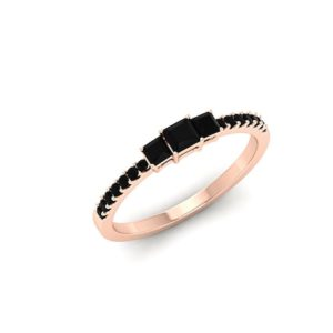Black Stone Princess Cut Ring, Black Onyx Engagement Ring, Square Cut Wedding Band, Half Eternity Ring, 14K Rose Gold Promise Ring for Women   Natural genuine Array rings, simple unique alternative gemstone engagement rings. #rings #jewelry #bridal #wedding #jewelryaccessories #engagementrings #weddingideas #affiliate #ad