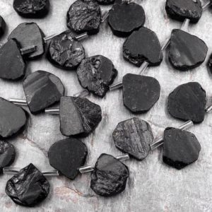 """Shop Black Tourmaline Chip & Nugget Beads! Raw Natural Black Tourmaline Beads Teardrop Shape Real Genuine Black Tourmaline Crystal Gemstones 15.5"""" Strand   Natural genuine chip Black Tourmaline beads for beading and jewelry making.  #jewelry #beads #beadedjewelry #diyjewelry #jewelrymaking #beadstore #beading #affiliate #ad"""
