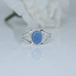 Shop Blue Chalcedony Rings! Blue Chalcedony Ring, Oval Chalcedony, Chalcedony Jewelry, Split Band Ring, Ready To Ship, Statement Ring, Handmade Ring, Artisan Ring, Gift | Natural genuine Blue Chalcedony rings, simple unique handcrafted gemstone rings. #rings #jewelry #shopping #gift #handmade #fashion #style #affiliate #ad