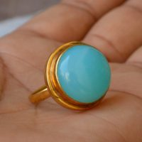 Sea Foam Green Blue Chalcedony Ring, Bezel Set Ring, Round Cab Chalcedony Ring, gemstone Ring, Large Chalcedony Ring, Silver Yellow Gold Ring | Natural genuine Gemstone jewelry. Buy crystal jewelry, handmade handcrafted artisan jewelry for women.  Unique handmade gift ideas. #jewelry #beadedjewelry #beadedjewelry #gift #shopping #handmadejewelry #fashion #style #product #jewelry #affiliate #ad