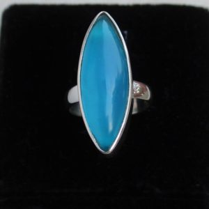 Shop Blue Chalcedony Rings! Blue Chalcedony Ring, Sterling Silver Jewelry, Statement Rings, Gift For Her, Thanksgiving Gifts Idea, Christmas Jewelry, Silver Bezel Rings | Natural genuine Blue Chalcedony rings, simple unique handcrafted gemstone rings. #rings #jewelry #shopping #gift #handmade #fashion #style #affiliate #ad