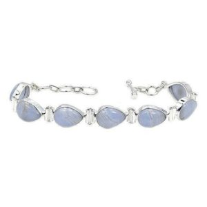 """Shop Blue Lace Agate Bracelets! Sterling Silver Natural Blue Lace Agate Bracelet Adjustable Length 6.5"""" – 7.5""""   Natural genuine Blue Lace Agate bracelets. Buy crystal jewelry, handmade handcrafted artisan jewelry for women.  Unique handmade gift ideas. #jewelry #beadedbracelets #beadedjewelry #gift #shopping #handmadejewelry #fashion #style #product #bracelets #affiliate #ad"""