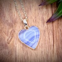 Blue Lace Agate Heart Necklace 925 Sterling Silver Bail, Italy Chain Necklace Communication, Intuition | Natural genuine Gemstone jewelry. Buy crystal jewelry, handmade handcrafted artisan jewelry for women.  Unique handmade gift ideas. #jewelry #beadedjewelry #beadedjewelry #gift #shopping #handmadejewelry #fashion #style #product #jewelry #affiliate #ad