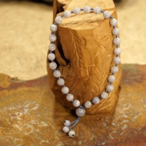 Shop Blue Lace Agate Necklaces! Blue Lace Agate Pocket Mala • Blue Lace Hand Mala • 27+1 Bead Mala • 7.5mm • Worry Beads •  Mini Mala • Gift for Him • Quarter Mala • 3723 | Natural genuine Blue Lace Agate necklaces. Buy crystal jewelry, handmade handcrafted artisan jewelry for women.  Unique handmade gift ideas. #jewelry #beadednecklaces #beadedjewelry #gift #shopping #handmadejewelry #fashion #style #product #necklaces #affiliate #ad