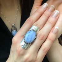 Long Ring, Blue Lace Agate Ring, Symbolic Ring, Shield Ring, Tribal Ring, Lilac Ring, Vintage Ring, Artistic Silver Ring, Solid Silver Ring | Natural genuine Gemstone jewelry. Buy crystal jewelry, handmade handcrafted artisan jewelry for women.  Unique handmade gift ideas. #jewelry #beadedjewelry #beadedjewelry #gift #shopping #handmadejewelry #fashion #style #product #jewelry #affiliate #ad