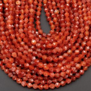 """Star Cut Natural Red Carnelian Beads Faceted 6mm 8mm 10mm Rounded Nugget Sharp Facets 15"""" Strand 