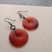 Carnelian Donut Earrings – Black And Orange Gothic Steampunk Jewelry – Sacral Chakra Healing Crystal | Natural genuine Gemstone jewelry. Buy crystal jewelry, handmade handcrafted artisan jewelry for women.  Unique handmade gift ideas. #jewelry #beadedjewelry #beadedjewelry #gift #shopping #handmadejewelry #fashion #style #product #jewelry #affiliate #ad