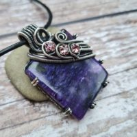 Purple Charoite Pendant, Wire Wrapped Jewellery, White Witch Jewellery, Russian Charoite Necklace, Purple Gemstone Jewellery | Natural genuine Gemstone jewelry. Buy crystal jewelry, handmade handcrafted artisan jewelry for women.  Unique handmade gift ideas. #jewelry #beadedjewelry #beadedjewelry #gift #shopping #handmadejewelry #fashion #style #product #jewelry #affiliate #ad