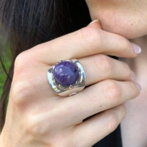 Shop Charoite Rings! Charoite Ring, Natural Charoite, Round Ring, Statement Ring, Purple Stone Ring, Vintage Ring, Purple Ring, 925 Silver Ring, Charoite   Natural genuine Charoite rings, simple unique handcrafted gemstone rings. #rings #jewelry #shopping #gift #handmade #fashion #style #affiliate #ad