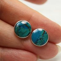 Earth… Chrysocolla Stone Studs Round Shape Natural Amazing Stone Set On 950 Sterling Silver Top Quality Beautiful Planet Earth Like Stone | Natural genuine Gemstone jewelry. Buy crystal jewelry, handmade handcrafted artisan jewelry for women.  Unique handmade gift ideas. #jewelry #beadedjewelry #beadedjewelry #gift #shopping #handmadejewelry #fashion #style #product #jewelry #affiliate #ad