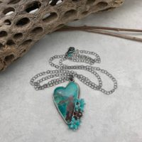 Chrysocolla Cluster Heart Necklace | Natural genuine Gemstone jewelry. Buy crystal jewelry, handmade handcrafted artisan jewelry for women.  Unique handmade gift ideas. #jewelry #beadedjewelry #beadedjewelry #gift #shopping #handmadejewelry #fashion #style #product #jewelry #affiliate #ad