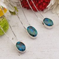 Chrysocolla Sterling Silver Gemstone Necklace – Maisey | Natural genuine Gemstone jewelry. Buy crystal jewelry, handmade handcrafted artisan jewelry for women.  Unique handmade gift ideas. #jewelry #beadedjewelry #beadedjewelry #gift #shopping #handmadejewelry #fashion #style #product #jewelry #affiliate #ad