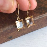 Champagne Citrine Earrings, Golden Citrine Emerald Cut Dangle Drops In Gold Or Silver, November Birthstone, Rectangular Jewelry Gift For Her | Natural genuine Gemstone jewelry. Buy crystal jewelry, handmade handcrafted artisan jewelry for women.  Unique handmade gift ideas. #jewelry #beadedjewelry #beadedjewelry #gift #shopping #handmadejewelry #fashion #style #product #jewelry #affiliate #ad