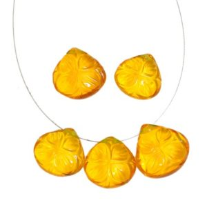 Citrine Quartz Gemstone Carving Briolette   12mm Heart Briolette   Gemstone Hydro Quartz Carved Pendant Bead   Citrine Quartz Flower Carving   Natural genuine other-shape Gemstone beads for beading and jewelry making.  #jewelry #beads #beadedjewelry #diyjewelry #jewelrymaking #beadstore #beading #affiliate #ad