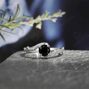 Classic Black Onyx Engagement Ring Tree bark Wedding Ring White Gold Twig Branch Ring Antique Promise Ring for Her Vintage Solitaire Ring   Natural genuine Array rings, simple unique alternative gemstone engagement rings. #rings #jewelry #bridal #wedding #jewelryaccessories #engagementrings #weddingideas #affiliate #ad