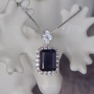 Shop Iolite Pendants! CZ Halo Natural Iolite Pendant 925 Sterling Silver Pendant Gift for Birthday for Girls(free silver chain gift)   Natural genuine Iolite pendants. Buy crystal jewelry, handmade handcrafted artisan jewelry for women.  Unique handmade gift ideas. #jewelry #beadedpendants #beadedjewelry #gift #shopping #handmadejewelry #fashion #style #product #pendants #affiliate #ad