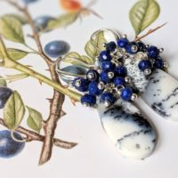 Dendritic Agate & Blue Lapis Lazuli Cluster Earrings | Natural genuine Gemstone jewelry. Buy crystal jewelry, handmade handcrafted artisan jewelry for women.  Unique handmade gift ideas. #jewelry #beadedjewelry #beadedjewelry #gift #shopping #handmadejewelry #fashion #style #product #jewelry #affiliate #ad