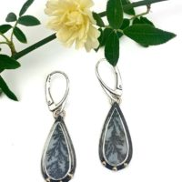 Dendritic Agate Earrings, Gold And Silver Stone Earrings, Boho Dangle Earrings | Natural genuine Gemstone jewelry. Buy crystal jewelry, handmade handcrafted artisan jewelry for women.  Unique handmade gift ideas. #jewelry #beadedjewelry #beadedjewelry #gift #shopping #handmadejewelry #fashion #style #product #jewelry #affiliate #ad