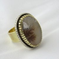 Dendritic Agate Ring, Brass And Sterling Silver, Agate Ring | Natural genuine Gemstone jewelry. Buy crystal jewelry, handmade handcrafted artisan jewelry for women.  Unique handmade gift ideas. #jewelry #beadedjewelry #beadedjewelry #gift #shopping #handmadejewelry #fashion #style #product #jewelry #affiliate #ad