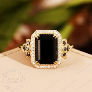 Emerald Cut Black Onyx Engagement Ring Solid 14K Gold Ring Cluster Ring Real Natural Black Diamond Bridal Ring Promise Ring Anniversary Gift   Natural genuine Array rings, simple unique alternative gemstone engagement rings. #rings #jewelry #bridal #wedding #jewelryaccessories #engagementrings #weddingideas #affiliate #ad