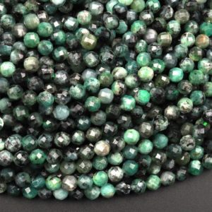 """Shop Emerald Faceted Beads! Real Genuine Natural Green Emerald Gemstone Faceted 3mm 4mm 5mm Round Beads Laser Diamond Cut Gemstone May Birthstone 15.5"""" Strand 