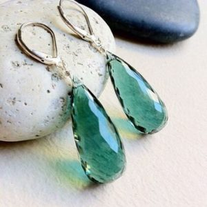Shop Green Amethyst Jewelry! Luxury Green Amethyst Earrings. Silver Or Gold. Febryary Birthday | Natural genuine Green Amethyst jewelry. Buy crystal jewelry, handmade handcrafted artisan jewelry for women.  Unique handmade gift ideas. #jewelry #beadedjewelry #beadedjewelry #gift #shopping #handmadejewelry #fashion #style #product #jewelry #affiliate #ad
