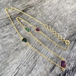 Shop Green Tourmaline Necklaces! Rough pink and green tourmaline necklace, sterling chain necklace, gold plated necklace, layering necklace | Natural genuine Green Tourmaline necklaces. Buy crystal jewelry, handmade handcrafted artisan jewelry for women.  Unique handmade gift ideas. #jewelry #beadednecklaces #beadedjewelry #gift #shopping #handmadejewelry #fashion #style #product #necklaces #affiliate #ad