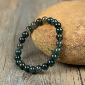 Healing Natural Stone Bracelet-moss Agate Bracelet-balance Calming Spiritual Meditation Bracelet-anxiety Relief Inner Peace Gift | Natural genuine Gemstone bracelets. Buy crystal jewelry, handmade handcrafted artisan jewelry for women.  Unique handmade gift ideas. #jewelry #beadedbracelets #beadedjewelry #gift #shopping #handmadejewelry #fashion #style #product #bracelets #affiliate #ad