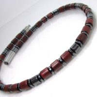 Masculine Handmade Necklace, Hematite Gemstone And Rosewood Men Necklace, Limited Edition, Mens Beaded Necklace, Mens Choker +gift Box | Natural genuine Gemstone jewelry. Buy handcrafted artisan men's jewelry, gifts for men.  Unique handmade mens fashion accessories. #jewelry #beadedjewelry #beadedjewelry #shopping #gift #handmadejewelry #jewelry #affiliate #ad