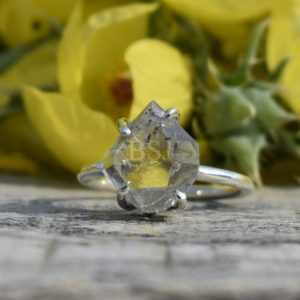 Shop Herkimer Diamond Rings! Raw Herkimer Diamond Ring, Antique Shape, 925 Sterling Silver, White Color Stone, Prong Setting Ring, Raw Stone Ring, Made For Her, Sale | Natural genuine Herkimer Diamond rings, simple unique handcrafted gemstone rings. #rings #jewelry #shopping #gift #handmade #fashion #style #affiliate #ad