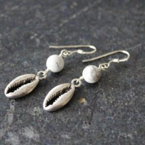 Shop Howlite Earrings! Cowry White Howlite Shell Earrings, Antique Silver Cowry Sterling Silver Earrings, Cowry Shell Jewelry, Shell Earrings, Silver Shell | Natural genuine Howlite earrings. Buy crystal jewelry, handmade handcrafted artisan jewelry for women.  Unique handmade gift ideas. #jewelry #beadedearrings #beadedjewelry #gift #shopping #handmadejewelry #fashion #style #product #earrings #affiliate #ad