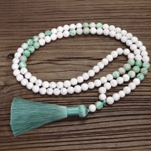 108 Beads Prayer Mala Necklace-Healing Howlite Inspirational Tassel Necklace-Gemstone Meditation Protection Stress Relief Yoga Gift   Natural genuine Gemstone necklaces. Buy crystal jewelry, handmade handcrafted artisan jewelry for women.  Unique handmade gift ideas. #jewelry #beadednecklaces #beadedjewelry #gift #shopping #handmadejewelry #fashion #style #product #necklaces #affiliate #ad