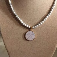 White Necklace – Howlite Gemstone Jewellery – Gold Jewelry – Pendant – Fashion – Beaded | Natural genuine Gemstone jewelry. Buy crystal jewelry, handmade handcrafted artisan jewelry for women.  Unique handmade gift ideas. #jewelry #beadedjewelry #beadedjewelry #gift #shopping #handmadejewelry #fashion #style #product #jewelry #affiliate #ad