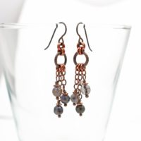 Long Copper Chain Iolite Earrings, Niobium French Hooks, Twisted Rings, Stone Beads, Boho Jewelry, 2 1 / 8 Inches Long | Natural genuine Gemstone jewelry. Buy crystal jewelry, handmade handcrafted artisan jewelry for women.  Unique handmade gift ideas. #jewelry #beadedjewelry #beadedjewelry #gift #shopping #handmadejewelry #fashion #style #product #jewelry #affiliate #ad