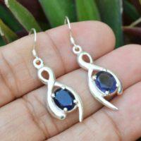 Modern Jewelry, Natural Iolite Earrings, 925 Solid Sterling Silver Earrings, 7x9mm Oval Earrings,  Boho Jewelry Earring, Gift For Her | Natural genuine Gemstone jewelry. Buy crystal jewelry, handmade handcrafted artisan jewelry for women.  Unique handmade gift ideas. #jewelry #beadedjewelry #beadedjewelry #gift #shopping #handmadejewelry #fashion #style #product #jewelry #affiliate #ad