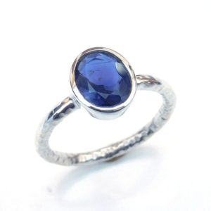 Shop Iolite Rings! Iolite Ring, Natural Blue Iolite Ring, Blue Stone Ring, Faceted Stone Ring 925 Sterling Silver Iolite Ring, Stackable Ring Hammered-u306 | Natural genuine Iolite rings, simple unique handcrafted gemstone rings. #rings #jewelry #shopping #gift #handmade #fashion #style #affiliate #ad