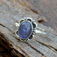 Natural Iolite Gemstone Ring -bezel Set Designer Ring -birthday Gift -iolite Cabochon Ring-925 Sterling Silver Ring- Yellow Gold Iolite Ring | Natural genuine Gemstone jewelry. Buy crystal jewelry, handmade handcrafted artisan jewelry for women.  Unique handmade gift ideas. #jewelry #beadedjewelry #beadedjewelry #gift #shopping #handmadejewelry #fashion #style #product #jewelry #affiliate #ad
