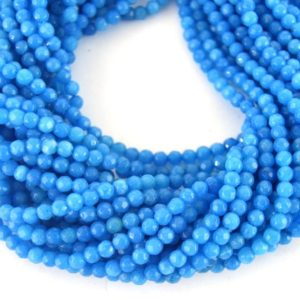 """Shop Jade Faceted Beads! 4mm Faceted Dyed Ocean Blue Natural Jade Round Beads – Sold by 15.5"""" Strands (~ 61 Beads) 