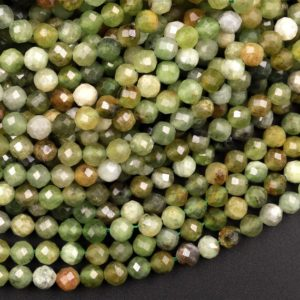 """Shop Jade Faceted Beads! Faceted Russian Jade 4mm Round Beads Micro Cut Natural Green Jade Gemstone 15.5"""" Strand 