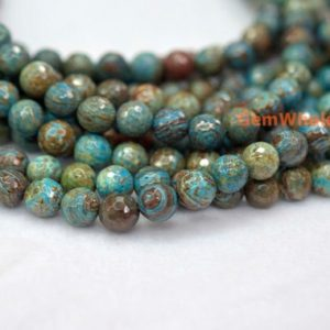 """Shop Jasper Faceted Beads! 15.5"""" 4mm / 6mm Turquoise Blue Calsilica Jasper Round Faceted Beads, Semi Precious Stone, blue Brown Gemstone Beads, blue Sky Jasper   Natural genuine faceted Jasper beads for beading and jewelry making.  #jewelry #beads #beadedjewelry #diyjewelry #jewelrymaking #beadstore #beading #affiliate #ad"""