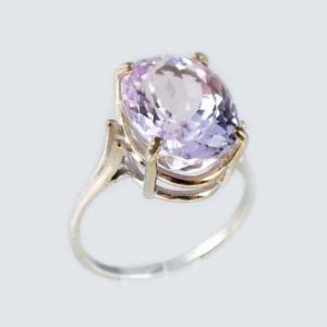 Shop Kunzite Rings! Gorgeous Kunzite Ring Ancient Good Luck Talisman White Gold Symbol Of Purity Pale Pink Kunzite Gemstone Frozen Pink Antique Gemstone #65259 | Natural genuine Kunzite rings, simple unique handcrafted gemstone rings. #rings #jewelry #shopping #gift #handmade #fashion #style #affiliate #ad