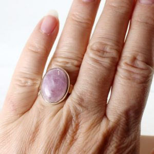Shop Kunzite Rings! Pink Kunzite Ring All Natural Kunzite Stone Oval Cabochon On Sterling Silver Bezel Amazing Quality Jewelry And Natural Kunzite | Natural genuine Kunzite rings, simple unique handcrafted gemstone rings. #rings #jewelry #shopping #gift #handmade #fashion #style #affiliate #ad
