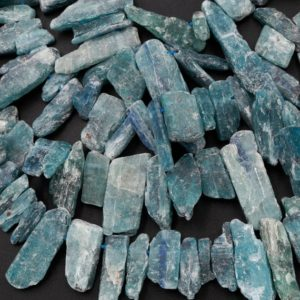 """Side Drilled Raw Natural Teal Blue Green Kyanite Bead Freeform Irregular Gemstone Spike Points Rough Organic Cut 16"""" Strand 