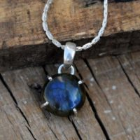Blue Flash Necklaces, round Labradorite Pendant, handmade Jewelry Gift, solid 925 Sterling Silver Prong Set Pendant, labradorite Girls Necklaces | Natural genuine Gemstone jewelry. Buy crystal jewelry, handmade handcrafted artisan jewelry for women.  Unique handmade gift ideas. #jewelry #beadedjewelry #beadedjewelry #gift #shopping #handmadejewelry #fashion #style #product #jewelry #affiliate #ad
