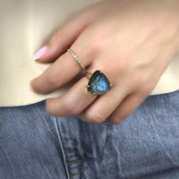 Gold Labradorite Ring · Trillion Ring · Bridal Ring · Event Ring · Gold Filled Ring · Gemstone Ring · Healing Energy Ring | Natural genuine Gemstone jewelry. Buy handcrafted artisan wedding jewelry.  Unique handmade bridal jewelry gift ideas. #jewelry #beadedjewelry #gift #crystaljewelry #shopping #handmadejewelry #wedding #bridal #jewelry #affiliate #ad