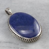 Lapis Silver Statement Pendant, Large Lapis Pendant, Lapis Lazuli Pendant, Chunky Pendant, Cabochon Pendant, 8p5tp2f5 | Natural genuine Gemstone jewelry. Buy crystal jewelry, handmade handcrafted artisan jewelry for women.  Unique handmade gift ideas. #jewelry #beadedjewelry #beadedjewelry #gift #shopping #handmadejewelry #fashion #style #product #jewelry #affiliate #ad