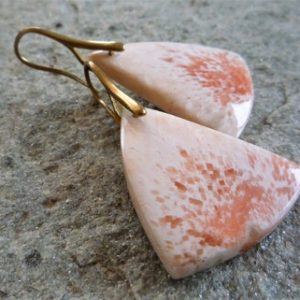 Shop Scolecite Earrings! Large stone earrings, Scolecite earring, Real stone earrings, Artisan earrings, Brass earrings, Rustic earrings   Natural genuine Scolecite earrings. Buy crystal jewelry, handmade handcrafted artisan jewelry for women.  Unique handmade gift ideas. #jewelry #beadedearrings #beadedjewelry #gift #shopping #handmadejewelry #fashion #style #product #earrings #affiliate #ad